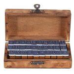 Everpert Style rétro Motif Nombre de lettres de l'alphabet en bois Stamp Lot de 30pcs–Bois + Bleu de la marque Everpert image 6 produit