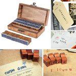 Everpert Style rétro Motif Nombre de lettres de l'alphabet en bois Stamp Lot de 30pcs–Bois + Bleu de la marque Everpert image 1 produit