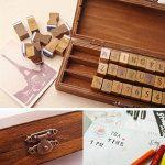 Everpert Style rétro Motif Nombre de lettres de l'alphabet en bois Stamp Lot de 30pcs–Bois + Bleu de la marque Everpert image 2 produit