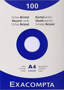 Exacompta 13306E Etui 100 Fiches Bristol Blanc 210/297 uni de la marque Exacompta image 0 produit
