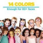 Face Painting Palette de Maquillage pour enfants by Blue Squid | Complete Ultimate Party Pack Paint Kit | 14 Painting Couleurs Vives, 30 Pochoirs, 4 Éponges Professionnelles, 2 Pinceaux, 2 Briller| Haute qualité et non-toxique Ensemble de peinture à base image 3 produit