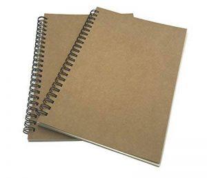 FLOKD Lot de 2 Cahiers à Spirales, Blanc, A5 (14.6 x 21 CM), 100 Pages Chacun, Notebook de Couverture Kraft de Deux Couleur, Papier de 100g de la marque FLOKD image 0 produit