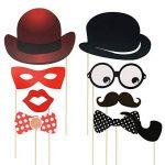 Foonii Lot de 90 accessoires colorés, lunettes, moustaches, lèvres, nœuds papillon, chapeaux sur bâtons pour mariages, fête de Noël, anniversaires de la marque Rymall image 2 produit