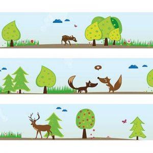 """Frise Wandkings """"animaux de la forêt"""" Longueur : 450 cm, auto-adhésive, pour les chambres d'enfants de la marque Wandkings image 0 produit"""