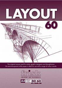 Frisk Layout Maroon Bloc de 80 feuilles de papier blanc semi-transparent 60 g/m² Format A4 de la marque Frisk image 0 produit