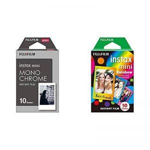 Fujifilm 70100137913 Instax Mini Développement instantané Monochrome & Fujifilm Instax Mini Rainbow Film 10 poses de la marque Fujifilm image 0 produit