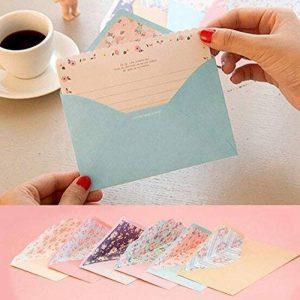 Funcoo - 48jolies feuilles de papier à lettre avec 24enveloppes + 1planche d'autocollants à sceller Style-2(7.1x5.2 inch) de la marque Funcoo image 0 produit