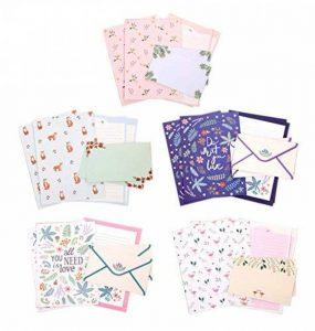 Funcoo 48Lovely Cute Kawaii écriture papeterie papier à lettres avec 24enveloppe + 1planche à imprimer Joint d'autocollant Style-1(8.3'' x 5.8'') de la marque Funcoo image 0 produit