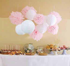 Furuix Pompons fleurs et boules en papier de soie à suspendre. Décorations idéales pour mariage,jardin, nurserie, lot de 12. Blanc/rose de la marque Furuix image 0 produit