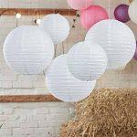 Furuix Pompons fleurs et boules en papier de soie à suspendre. Décorations idéales pour mariage,jardin, nurserie, lot de 12. Blanc/rose de la marque Furuix image 4 produit