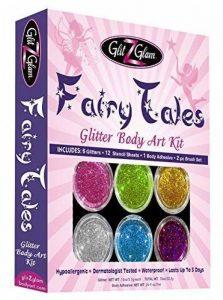 GlitZGlam Kit de tatouage avec paillettes Contes de fées avec 6 grandes paillettes & 12 pochoirs - Tatouages temporaires & Art corporel de la marque GlitZGlam image 0 produit