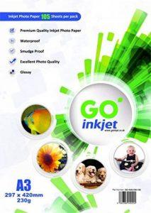 GO Inkjet - 100 Feuilles de papier photo 230gm format A3 42x29.7cm - Papier blanc extra brillant et waterproof, compatible imprimantes photos et jet d'encre de la marque GO Inkjet image 0 produit