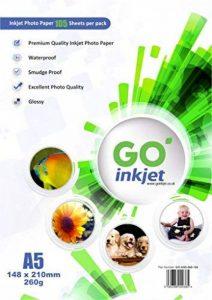 GO Inkjet - 100 feuilles de Papier photo brillant Plus 260gm format A5 14.8cm x 21cm: avec 5 feuilles supplémentaire. papier blanc et de l'eau glacé résistant pour les imprimantes à jet d'encre de l'imprimante à jet d'encre et photo. de la marque GO Inkje image 0 produit