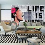 GREAT ART Affiche Banksy, décoration de peinture murale d'artiste de Graffiti Life is Beautiful, style de rue Pop, style d'Artiste de rue Stencil | mur deco Poster mural Image by (140 x 100 cm) de la marque GREAT ART image 2 produit