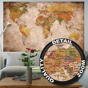 GREAT ART Carte du monde Décoration murale vintageet rétro (140 x 100 cm) de la marque GREAT ART image 0 produit