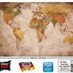 GREAT ART Carte du monde Décoration murale vintageet rétro (140 x 100 cm) de la marque GREAT ART image 1 produit