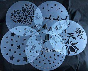 Gâteau Pochoirs Tatoo Lot de 5décoration anniversaire Happy Bit hday Fleurs du printemps Cœur Motif étoiles Noël Décoration de Royal House marchandises de la marque ROYAL HOUSEWARE image 0 produit