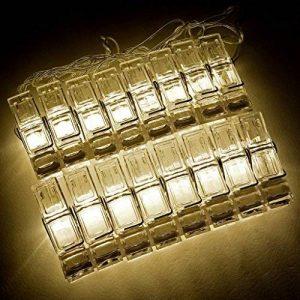 Guirlande lumineuse DEL 196 cm avec 16 pinces photo DEL blanc chaud pour papier photo 5 x 7 cm Fuji Instax Mini 9, 26, 8, 7 Instant Camera de la marque Polaroid image 0 produit