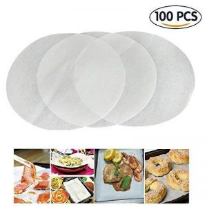 Gzq 100pcs papier sulfurisé papier antiadhésif four rond Cookie Sacs Feuilles pour air Friteuses Vapeur dumplings Cake 25CM/9.8 Inch blanc de la marque GZQ image 0 produit