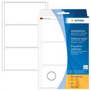 Herma 2500 Étiquettes universelles 52 x 100 mm 96 pièces Blanc de la marque HERMA image 0 produit