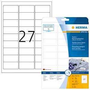 Herma 4511Nom Étiquettes résidus (63,5x 29,6mm, textile, autocollantes, badges, imprimable Lot de 540sur 20feuilles DIN A4), blanc de la marque HERMA image 0 produit