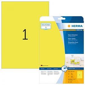Herma 5148 Étiquettes 210 x 297 A4 LaserCopy 20 pièces Jaune fluo de la marque HERMA image 0 produit