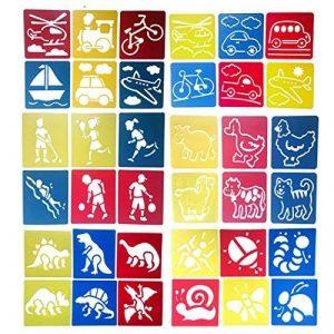Hillento 6 packs (36 pièces) peinture pochoir en plastique animaux modèles de dessin pour enfants pour l'artisanat des enfants, six modèles différents de modèles de peinture, modèle lavable pour les projets scolaires de la marque Hillento image 0 produit
