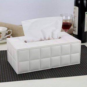 HOME boîte de mouchoirs en cuir de mode personnalisé Continental voiture accueil bac à papier de pompage créatif salon boîte serviette de table en bois ( Couleur : Blanc ) de la marque Tissue box image 0 produit