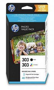 HP 303 Photo Value Pack – 1 cartouche HP 303 noir, 1 Cartouche HP 303 trois couleurs, 40 feuilles papier photo HP Advanced 10x15cm (Z4B62EE) de la marque HP image 0 produit