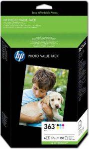 HP 363 Series Photo Value Pack Cartouche d'encre et kit papier Noir Jaune Cyan Magenta Magenta clair Cyan clair de la marque HP image 0 produit
