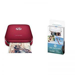 HP Sprocket Imprimante Photo portable (Bluetooth, Impression Couleur sans Encre 5 x 7,6 cm) Rouge + HP ZINK Papier Photo (50 feuilles, 5 x 7,6 cm, dos autocollant) de la marque HP image 0 produit