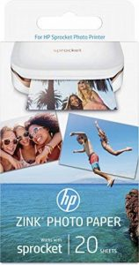 HP ZINK Papier Photo (20 feuilles, 5 x 7,6 cm, dos autocollant) de la marque HP image 0 produit