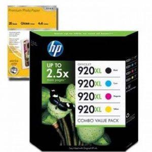 HP920xl - 4 Cartouches d'encre Originales Noir, Cyan, Magenta, Jaune pour HP 920xl Officejet 6000 6500 7000 series, 6500a 7500a wf + Premium Glossy Photo Papier - 4x6 - 20 feuilles de la marque TruImage image 0 produit