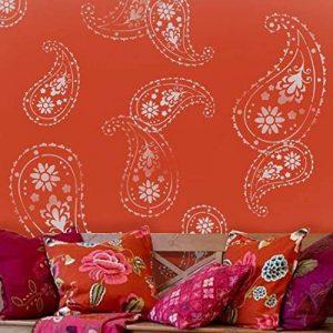 Ideal Stencils Ltd Pochoir de motif cachemire indien, décoration de maison, Plastique, XS/11X15.5 de la marque Ideal Stencils image 0 produit