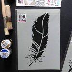 """Ideal Stencils Pochoir en forme de plume pour décoration murale et loisirs créatifs Tailles diverses, XS/18cm/7"""" de la marque Ideal Stencils image 3 produit"""
