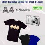 Imprimé sur le papier de transfert de tissu pour tissus foncé A45feuilles de la marque CreativePaperCo image 2 produit