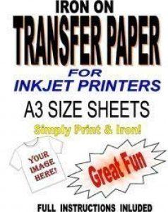 Jet d'encre imprimable Fer Sur T-Shirt et papier de transfert de tissu pour tissus léger 10feuilles A3 de la marque Madaboutink image 0 produit