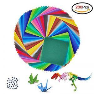 Jingxu 50 Couleurs Papier Origami 200 Feuilles Papier de Couleur Simple à La Main Artisanat Pour Projets Artistiques et Artisanaux Avec 100PCS Wiggle Googly Eyes (20x20cm) de la marque Jingxu image 0 produit