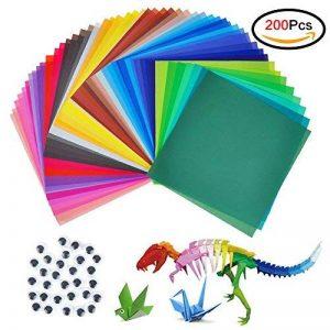 Jingxu 50 Couleurs Papier Origami 200 Feuilles Papier Simple à La Main Artisanat 6 * 6 Pouces Pour Projets Artistiques et Artisanaux Avec 100PCS Wiggle Googly Eyes de la marque Jingxu image 0 produit