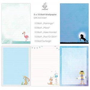 Joli mélange de 5x 10feuilles DIN A4pour les enfants Papier à lettres avec lignes insg. 50feuilles/Papier à lettres enfants/Papier à lettres, Papier à lettre pour les enfants fille de la marque emufarm® image 0 produit
