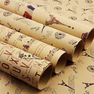 (* Journal Albizu *) Double Taille Papier d'emballage cadeau Vintage Journal Wrap Artware emballage Papier emballage Papier-5 Kraft Noël pcs dans la conception différente de 75 * 51cm de la marque Leaptech image 0 produit