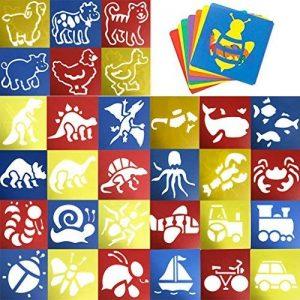 JT-Amigo Lot de 30 Pochoirs de Dessin Enfants, Animaux, Transport et Dinosaures de la marque JT-Amigo image 0 produit