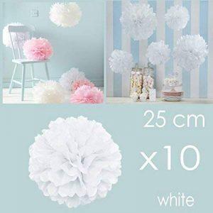 JZK 10pcs x 25cm blanc Fausses fleurs en boules en papier, décorations pour mariage  anniversaire  baptême  Communaute  parties ou diverses occasions de la marque JZK image 0 produit