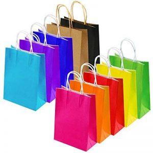 Keriber 20Pcs Paper Party sac cadeau Sac Kraft papier sac avec poignée pour anniversaire, Tea Party, mariage, célébrations, couleurs colorées de la marque Keriber image 0 produit