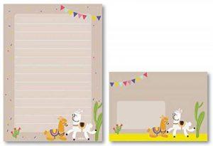 Kit de papier à lettres Lama pour enfant: 25feuilles Format DIN A5, ligné + 10enveloppes (Cadeau pour fille/garçon, multicolore) de la marque dabelino image 0 produit