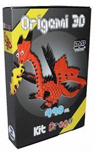 """Kit Origami 3D Dragon / Dragon 490 Pcs. - Carton """"PRE-SIGNÉ"""" Pour Cintrage Facile Pari A 1/32 Sur Base A4 DVD-Tutorial En Italien et Anglais - Niveau Difficile - Made In Italy de la marque Ying 3D Origami image 0 produit"""