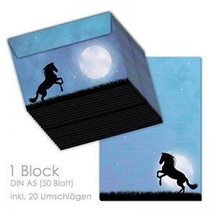 """'Kit papier à lettres/lettre Bloc """"Cheval au clair de lune (DIN A5ligné 50feuilles) avec 20enveloppes/Papier à lettre Set de papier à lettres, Chevaux, papier à lettre Cheval de la marque emufarm® image 0 produit"""