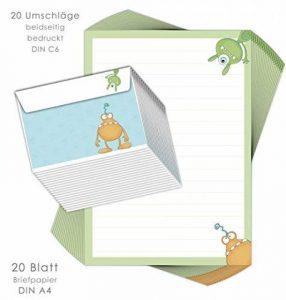 """'Kit papier à lettres pour enfants """"Monster 20feuilles DIN A4avec lignes avec 20enveloppes imprimés/Papier à lettres enfants/garçons papier à lettre de la marque emufarm® image 0 produit"""