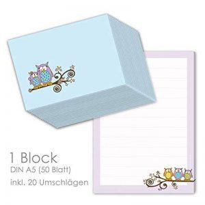 """'Kit papier à lettres pour les enfants lettre Bloc """"Chouettes DIN A5(ligné 50feuilles) avec 20enveloppes/Papier à lettre pour enfants/Papier à lettres filles de la marque emufarm image 0 produit"""