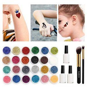 Kit Tatouage Glitter, Tatouages temporaires Peinture pour le visage, Maquillage de Fête(Halloween)Avec 24 Couleurs Brillantes, 108 Feuilles avec Motif de Tatouage à Thème Unique,Glitter Body Art Design, Maquillage des ongles de la marque Essort image 0 produit